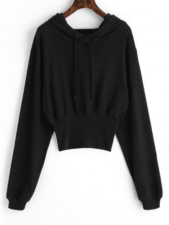 hot Ribbed Trim Textured Hoodie - BLACK M