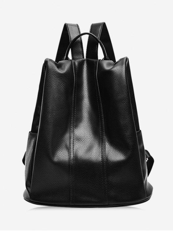 women's Top Handle Faux Leather Backpack - BLACK