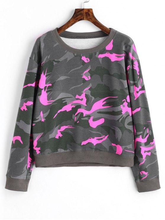 ladies Crew Neck Camo Sweatshirt - FLUORESCENT PINK M