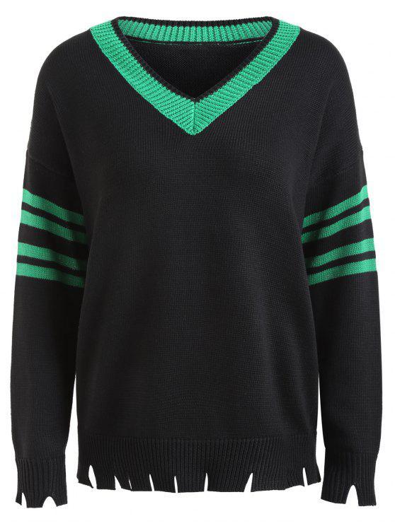 online Distressed Slit Hem Plus Size Sweater - BLACK 5XL
