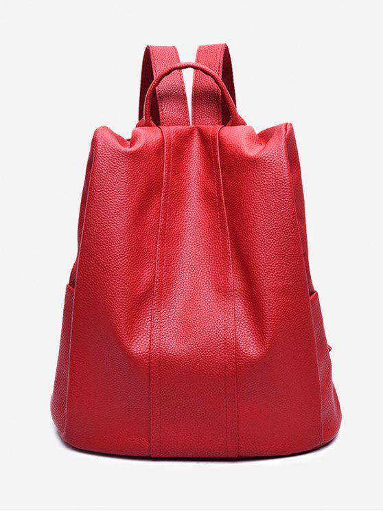 best Top Handle Faux Leather Backpack - RED