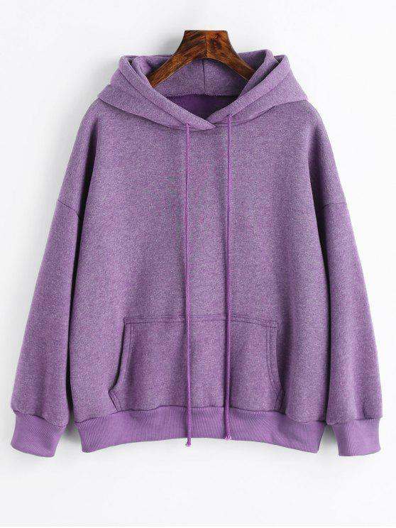 new Sporty Pocket Fleece Hoodie - PURPLE L