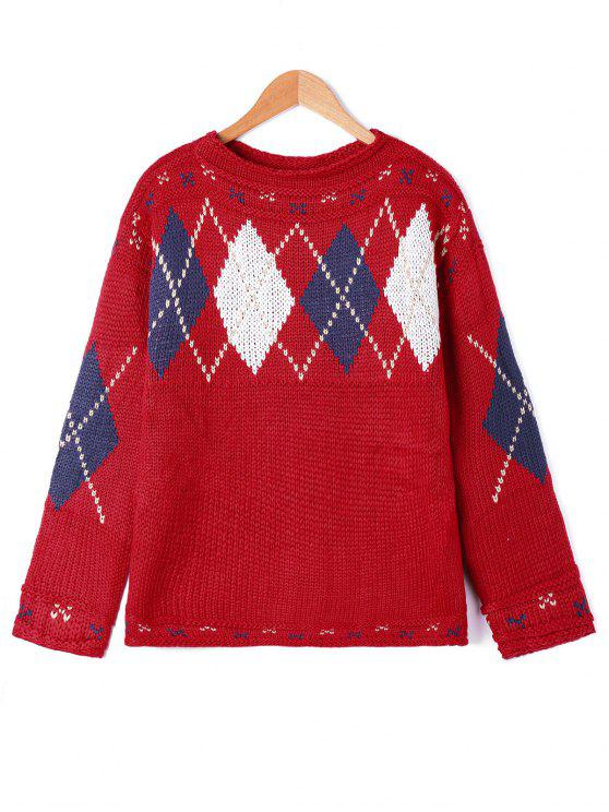 shops Rhombus Pattern Drop Shoulder Sweater - RED ONE SIZE