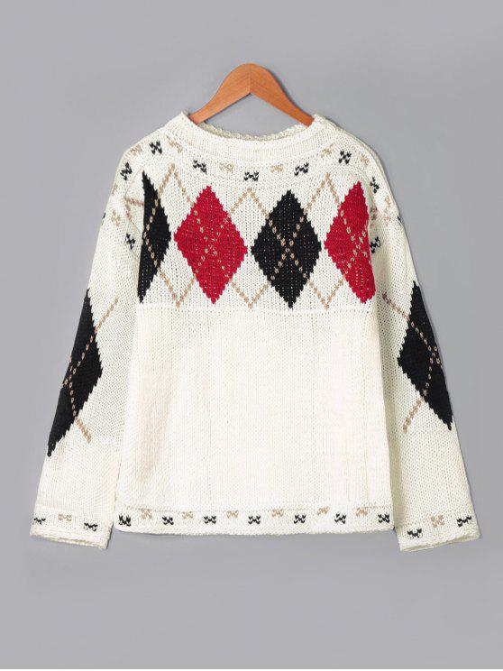 chic Rhombus Pattern Drop Shoulder Sweater - OFF-WHITE ONE SIZE