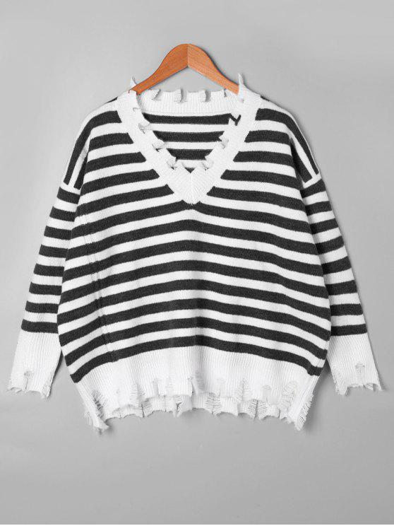 affordable Striped Drop Shoulder Ripped Sweater - BLACK STRIPE ONE SIZE