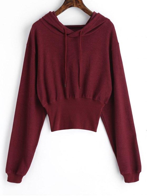 sale Ribbed Trim Textured Hoodie - WINE RED XL