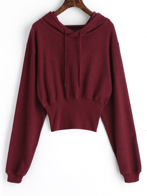 best Ribbed Trim Textured Hoodie - WINE RED M