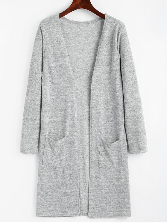 fashion Open Longline Cardigan with Pockets - GRAY ONE SIZE