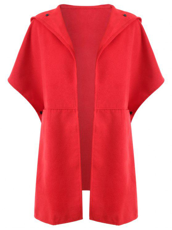 trendy Plus Size Hooded Cape Coat - RED 2XL