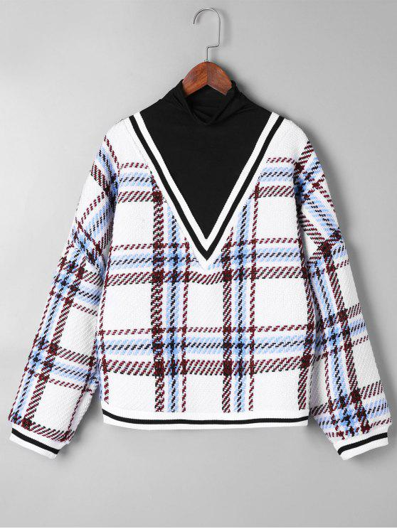 fancy Plaid Contrast Trim Knitwear - WHITE ONE SIZE