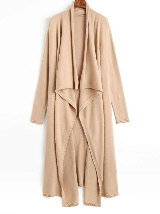 Open Front Waterfall Maxi Cardigan CAMEL: Sweaters L | ZAFUL