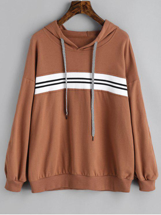 womens Contrast Striped Hoodie - BROWN M