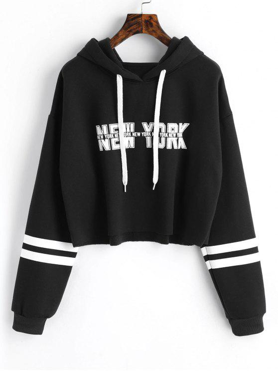 lady New York Graphic Crop Hoodie - BLACK ONE SIZE