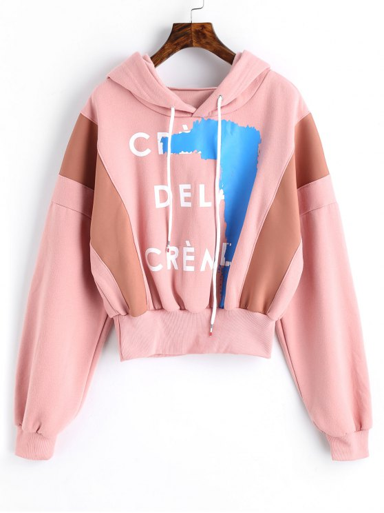 hot Fleece Graphic Hoodie - PINK ONE SIZE
