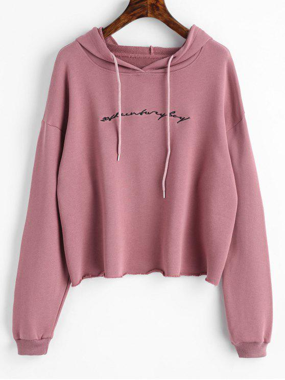 outfits Raw Hem Letter Embroidered Hoodie - PALE PINKISH GREY ONE SIZE
