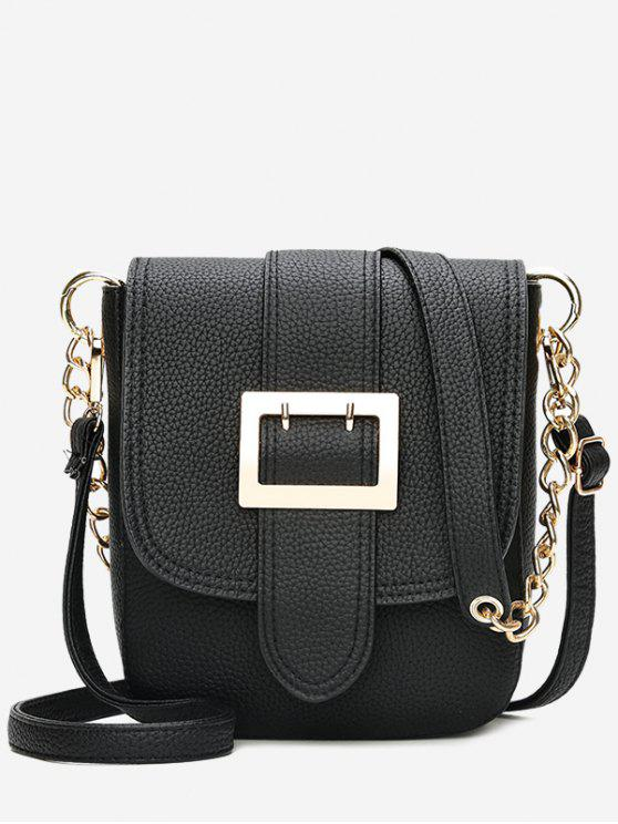 Cadeia de fivela Strap Faux Leather Crossbody Bag - Preto