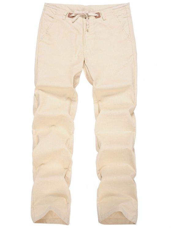 outfit Linen Drawstring Pants - APRICOT 2XL