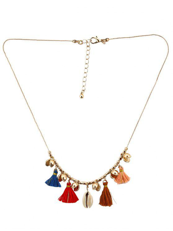 Tassel Shell Charm Necklace - Cor Mistura