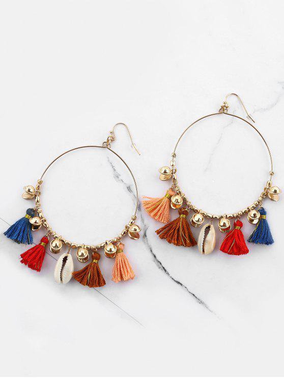 online Bohemian Shell Tassel Circle Hook Earrings - COLORMIX