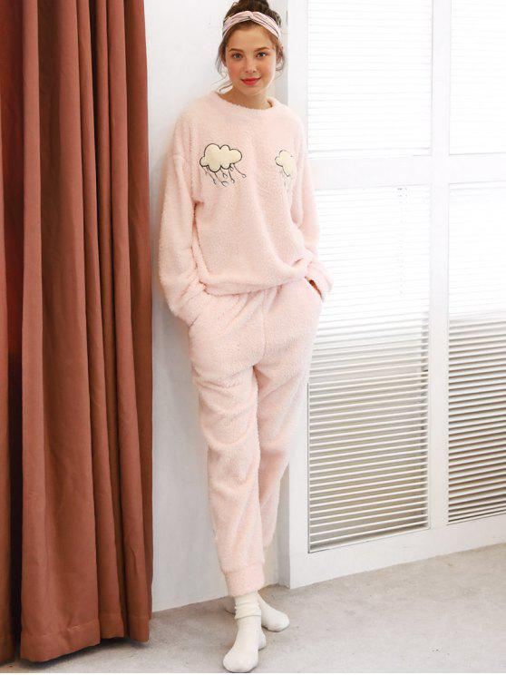 54408d51d7f 30% OFF  2019 Clouds Graphic Fuzzy Pajama Set In PINK
