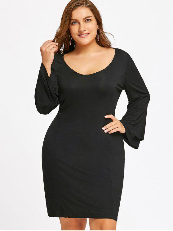 24% OFF] 2019 Long Sleeve Plus Size Tiered Sleeve Dress In BLACK | ZAFUL