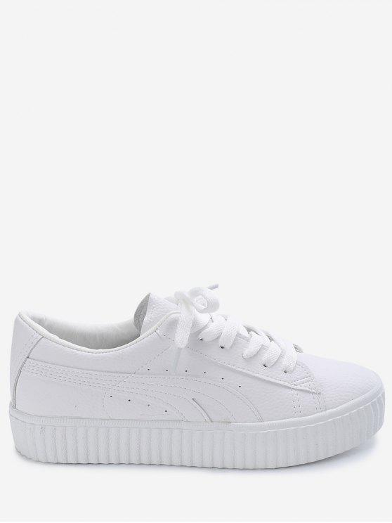 sale Tie Up Faux Suede Platform Sneakers - WHITE 37