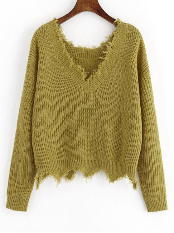 affordable Scalloped V Neck Frayed Sweater - BLUISH YELLOW ONE SIZE