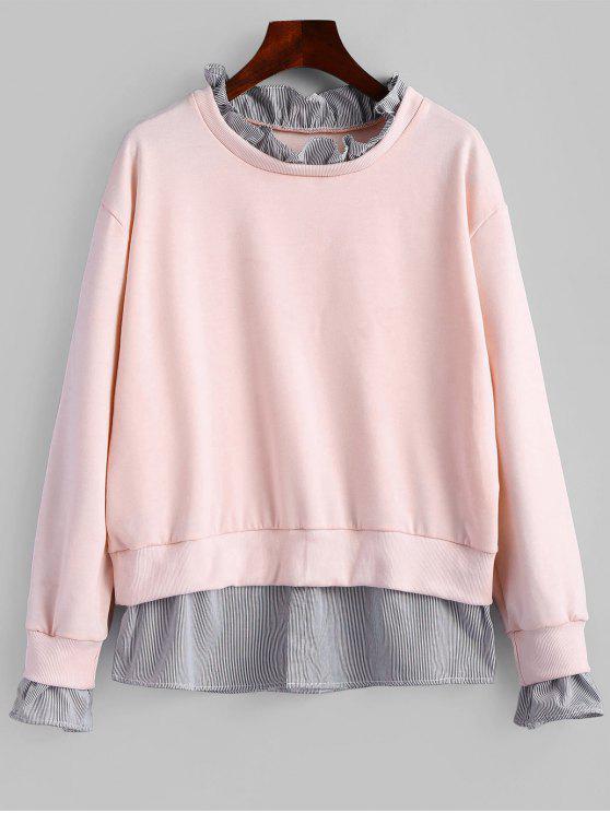 outfits Ruffle Neck Striped Sweatshirt - PINK M