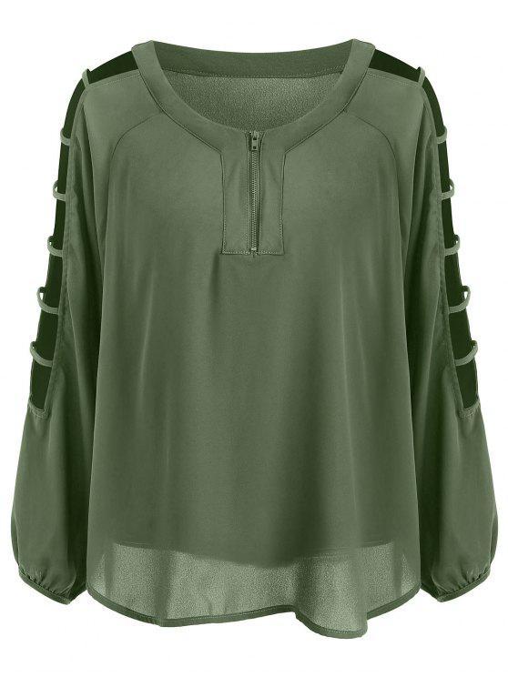 Blusa talla grande con cremallera y media talla Ladder - Verde del ejército 2XL