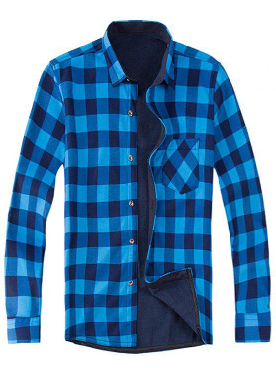 shop Long Sleeve Plaid Fleece Shirt - COLORMIX XL