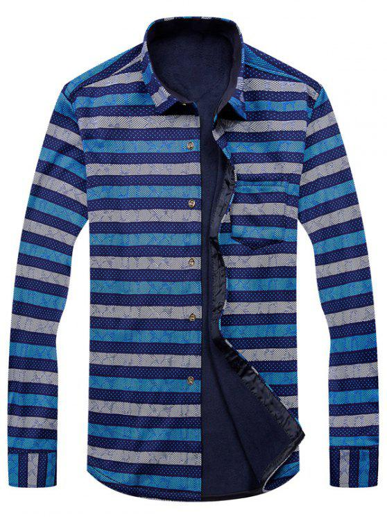 Camicia a righe geometriche a righe a manica lunga - colori misti 3XL
