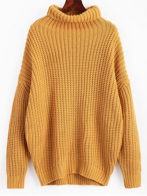 sale Turtleneck Longline Chunky Sweater - GINGER ONE SIZE