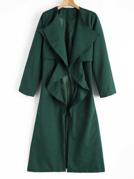 buy Back Slit Draped Belted Coat - BLACKISH GREEN M