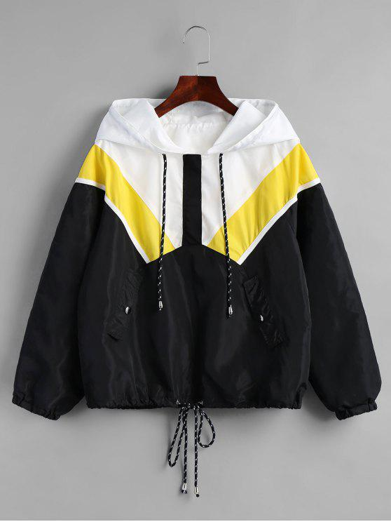 affordable Half Zip Contrast Hooded Windbreaker Jacket - BLACK M