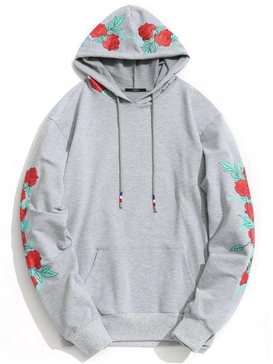 Sudadera con Capucha con Estampado Floral - Gris S