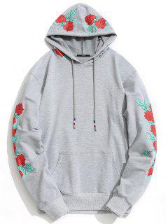 Pullover Floral Print Hoodie - Gray M