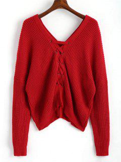 V Neckline Back Lace Up Pullover Sweater - Red