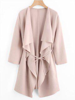 Front Pockets Draped Coat - Pink S