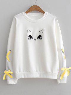 Fleece Cat Lace-up Sweatshirt - White