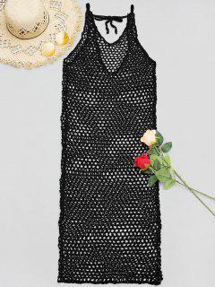 V Neck Crochet Cover Up Dress - Black