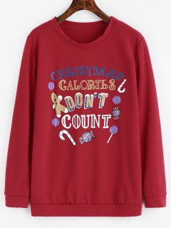 Letter Graphic Christmas Sweatshirt - Red Xl