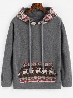 Graphic Christmas Kangaroo Pocket Hoodie - Deep Gray L