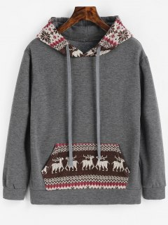 Graphic Christmas Kangaroo Pocket Hoodie - Deep Gray Xl