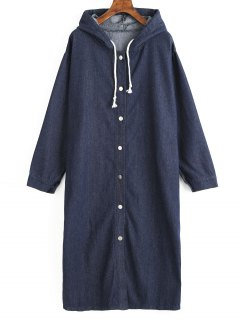 Buttons Hooded Long Denim Coat - Denim Blue