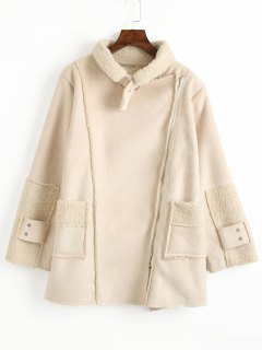 Inclined Zipper Suede Faux Shearling Coat - Beige L