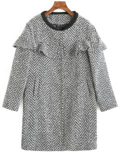 Frilled Zig Zag Tweed Coat - Xl