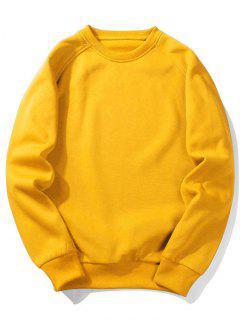 Fleece Crew Neck Sweatshirt - Yellow L