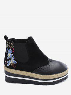 Flower Embroidery Wingtip Platform Boots - Black 35