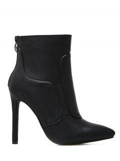 Pointed Toe Stiletto High Heel Ankle Boots - Black 36