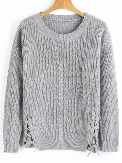 Side Lace Up Ribbed Texture Sweater - Gris